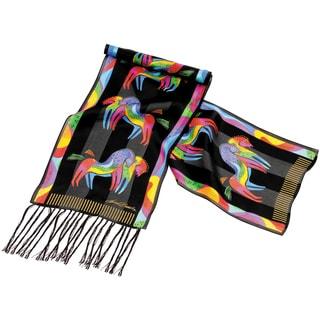 Laurel Burch Scarves-Rainbow Horses W/Fringe
