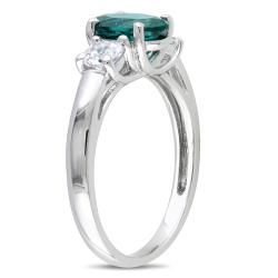 Miadora Silver 1 5/8 ct TGW Created Emerald and White Sapphire Ring