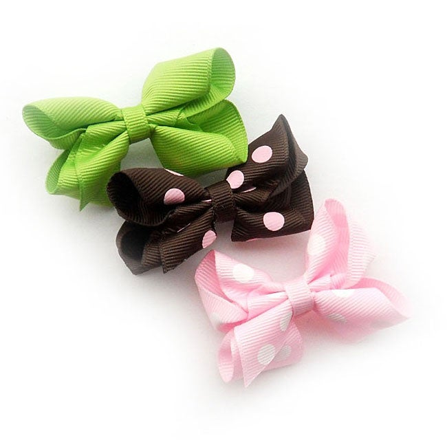 Overstock.com Assorted Polka Dot Boutique Bow Clips (Set of 3) at Sears.com