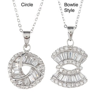 La Preciosa Sterling Silver Round and Baguette Cubic Zirconia Necklace