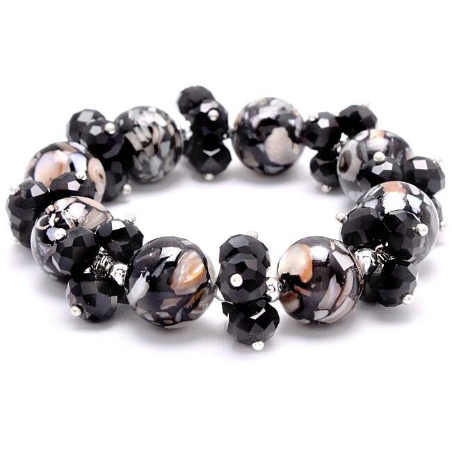 Black Mosaic Marble Stretch Crystal Bracelet
