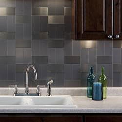 Aspect 3x6-inch Brushed Stainless Long Grain Metal Peel and Stick Backsplash Kit
