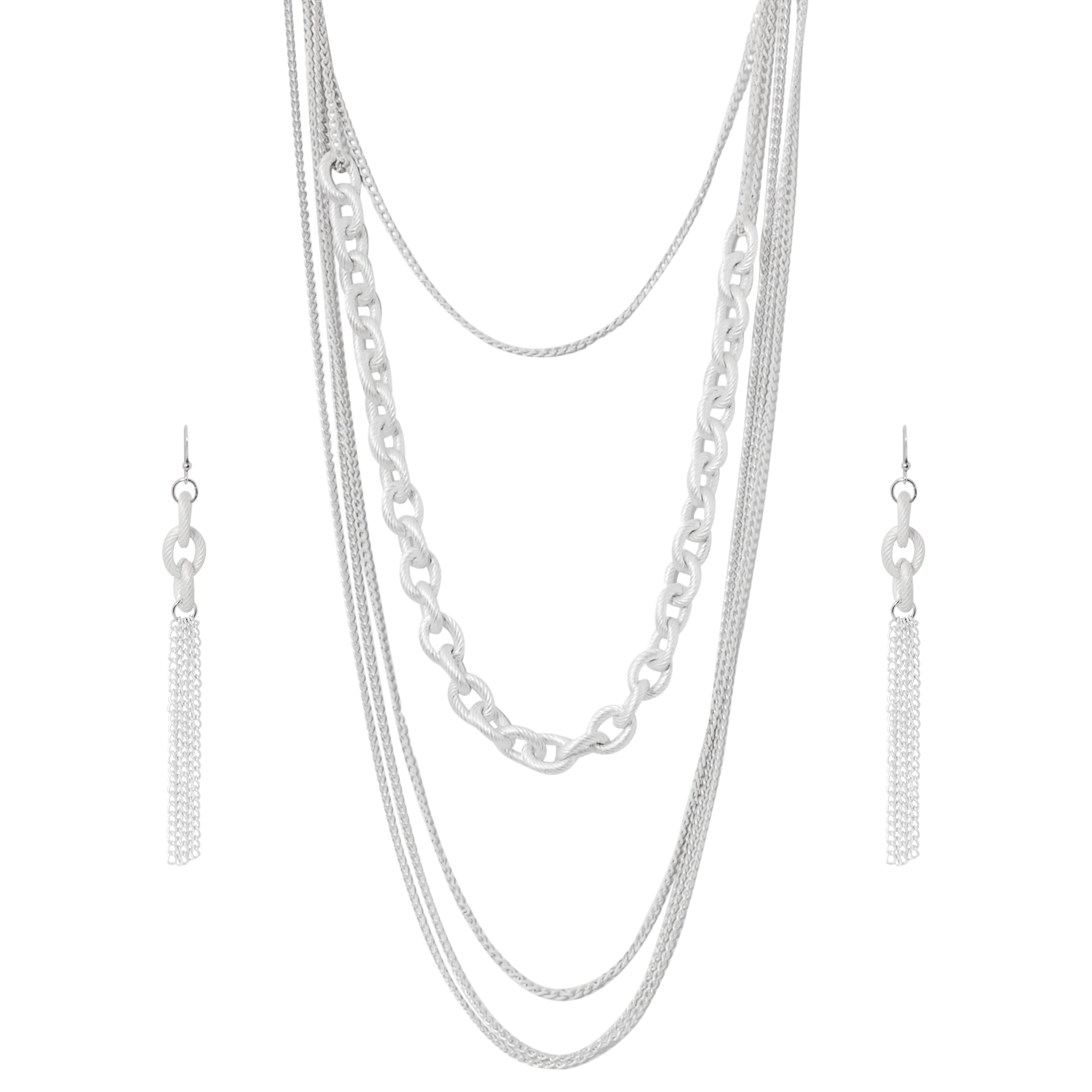 Journee Collection Cream Multi-chain Necklace Earring Set