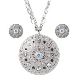 Journee Collection Silvertone Rhinestone Disc Necklace and Earring Set