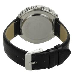 Geneva Platinum Women's White Black Rhinestone Watch