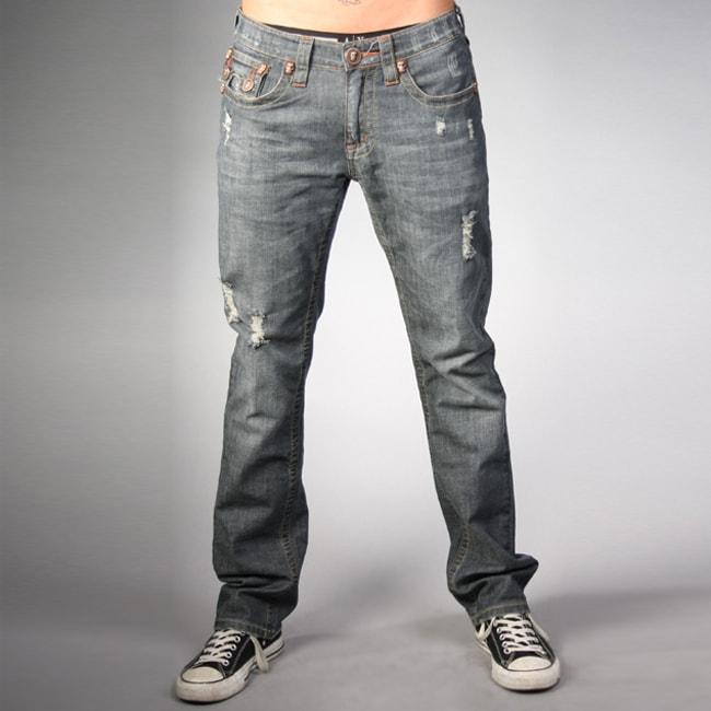 Laguna Beach Jean Co. Men's Dark Blue Skull Pocket Slim Jeans