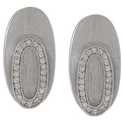 La Preciosa Sterling Silver CZ Matte Oval Earrings