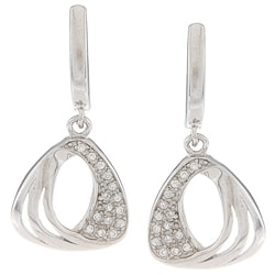 La Preciosa Sterling Silver CZ Open Triangle Earrings
