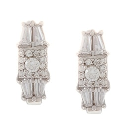 La Preciosa Sterling Silver CZ Square Center and Baguette Earrings
