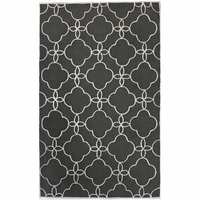 nuLOOM Handmade Indoor / Outdoor Lattice Trellis Charcoal Rug (6' x 9')