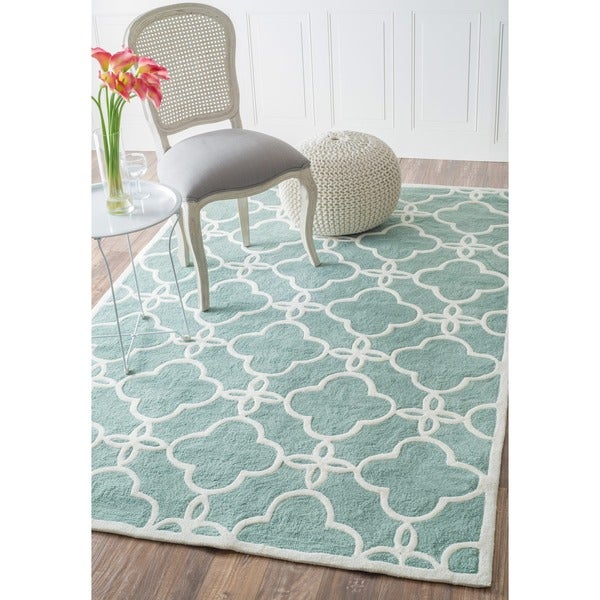 nuLOOM Handmade Indoor / Outdoor Lattice Trellis Blue Rug (6' x 9')