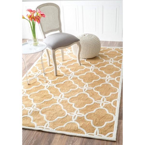 nuLOOM Handmade Indoor / Outdoor Lattice Trellis Natural Rug (8'3 x 11')