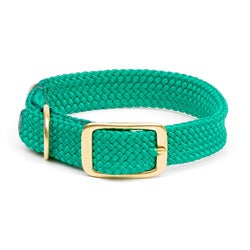 Double-Braid Collar 1 wide up to 18 inches - Kelly Green Brass Buckle