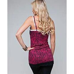Stanzino Women's Zebra Printed Lace Trim Wrinkled Cami