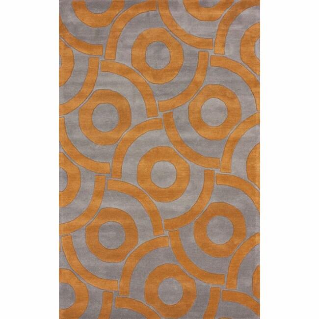 nuLOOM Handmade Circles Orange Wool Rug (5' x 8')