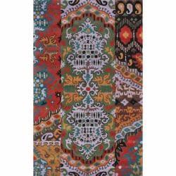 nuLOOM Handmade Damask Multi Wool Rug (5' x 8')