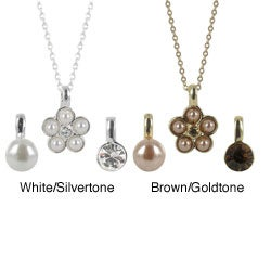 Roman Interchangable Flower, Faux Pearl and Crystal 3-Pendant Necklace