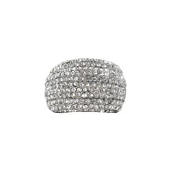 Roman Silvertone Crystal Multi-row Pave Stretch Ring