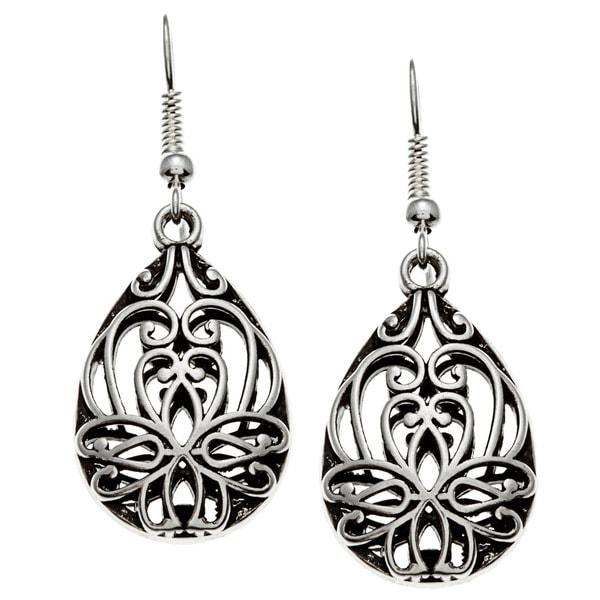 Roman High-polished Silvertone Metal Filigree Dangle Earrings