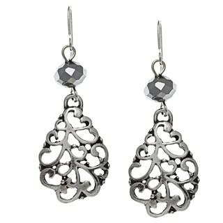 Roman Silvertone Faceted Bead Filigree Dangle Earrings