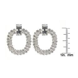 Roman Silvertone Clear Crystal Doorknocker Dangle Earrings