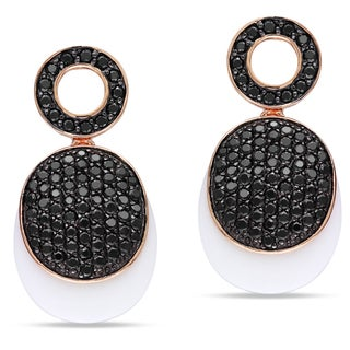 Miadora Pink Rhodium Plated Silver White Agate and Black Cubic Zirconia Dangle Earrings