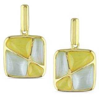 Miadora Yellow Rhodium-plated Silver Simulated Green and Yellow Cat Eye Dangle Earrings