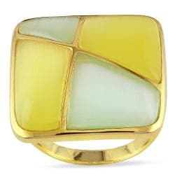 Miadora Yellow Rhodium-plated Silver Green and Yellow Simulated Cat Eye Cocktail Ring