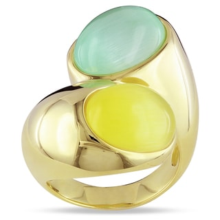 Miadora Yellow Rhodium-plated Sliver Green and Yellow Simulated Cat Eye Ring