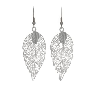 Nexte Jewelry Highly Polished Stainless Steel Leaf Design Dangle Earrings