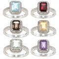 Viducci Sterling Silver Gemstone and 1/5ct TDW Emerald-cut Diamond Ring (G-H, I1-I2)
