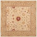 Handmade Timeless Ivory/ Sand Hand-spun Wool Rug (8' Square)