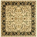 Handmade Heritage Treasures Ivory/ Black Wool Rug (6' Square)