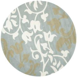 Handmade Silhouettes Blue/Grey New Zealand Wool Rug (6' Round)