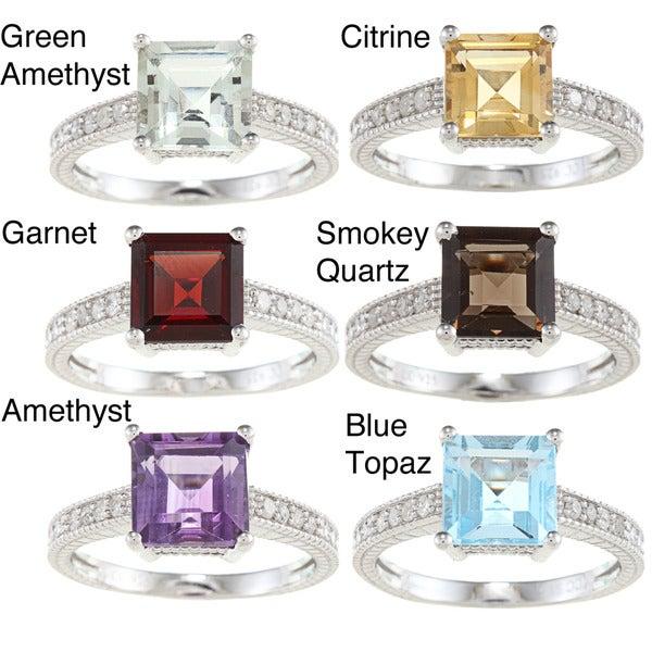 Viducci Sterling Silver Gemstone and 1/6ct TDW Diamond Ring (G-H, I1-I2)