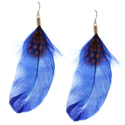 Purple Accent Feather Hook Earrings
