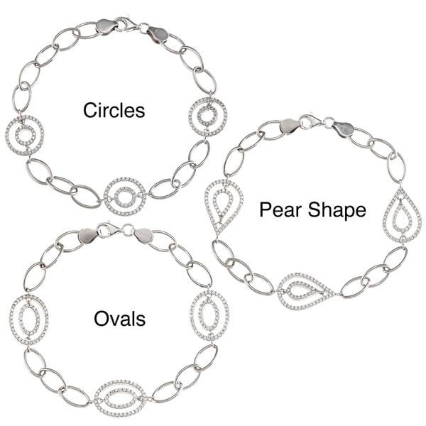 La Preciosa Sterling Silver Open Shapes CZ Bracelet