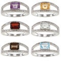 Viducci Sterling Silver Gemstone and 1/3ct TDW Diamond Ring (G-H, I1-I2)