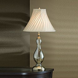 Smoked Glass and Pewter 32-inch High Table Lamp