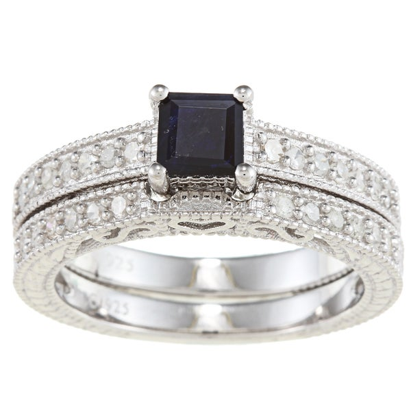 Viducci Sterling Silver Sapphire and 1/2ct TDW Diamond Ring Set (G-H, I1-I2)