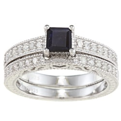 Viducci Sterling Silver Sapphire and 1/2ct TDW Diamond Ring Set (G-H, I1-I2)