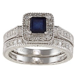 Viducci Silver Sapphire and 5/8ct TDW Diamond Bridal Ring Set (G-H, I1-I2)