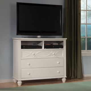Tribecca Home Piston Cottage White 3-drawer TV Media Chest
