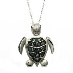 Beverly Hills Charm Silver 1/4ct TDW Blue Diamond Turtle Necklace (Blue, I1)