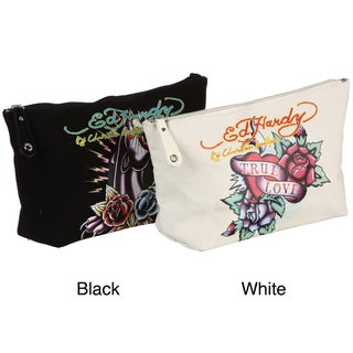 Ed Hardy Tattoo-inspired Cotton Fabric Zip-closure Clutch Bag