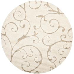 Ultimate Cream/ Beige Shag Rug (5' Round)
