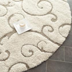 Ultimate Cream/ Beige Polypropylene Shag Rug (5' Round)