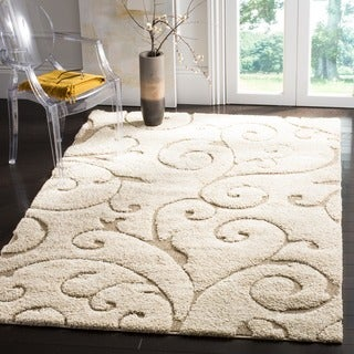 Safavieh Florida Ultimate Shag Cream/ Beige Rug (5' Square)