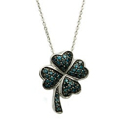 Beverly Hills Charm Sterling Silver 1/4ct TDW Blue Diamond Heart Clover Necklace (Blue, I1)