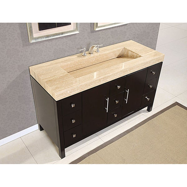 60-inch Modern Travertine Stone Top Integrated Sink Bathroom Double Vanity Cabinet